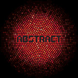 Futuristic abstract background with red mosaic and inscription.  Royalty Free Stock Images