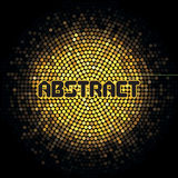 Futuristic abstract background with yellow mosaic and inscription Royalty Free Stock Photography