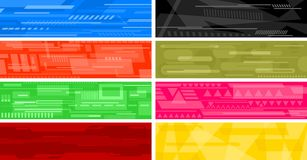 Futuristic abstract banners. Eight futuristic sci-fi hi-tech abstract banners. Vector illustration Stock Photo