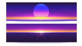 Futuristic abstract banners with the sun rays on the horizon. Sci fi retro gradient, vintage style of the 80s. 3D. Illustration for design of layout. Digital Royalty Free Stock Images