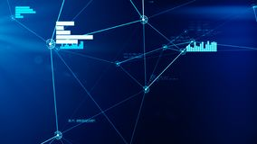 Futuristic abstract blue network and data connection grid illustration