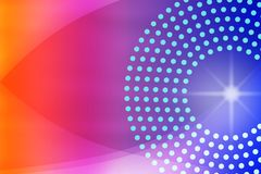 Shiny Sparkle, Circles, Dots and Curves in Blurred Blue, Purple, Pink and Red Background. A futuristic abstract colorful background with circles, curves, dots royalty free stock image