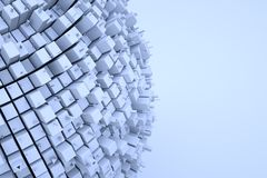 Futuristic Abstract 3D Building in Motion. Nice 3D Rendering Royalty Free Stock Photo