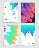 Futuristic abstract 3d fluid oil with memphis pattern elements. Modern party vector posters. Brochure and flyer poster with colored futuristic fluid gradient vector illustration