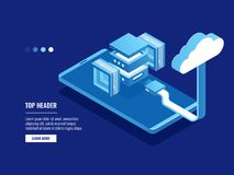 Futuristic abstract data warehouse, cloud storage, server room, data center and database icon, upload. Or download files isometric vector Royalty Free Stock Photos