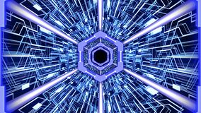 Futuristic abstract digital tunnel HUD with hexagon borders and digital circuit board background in blue color