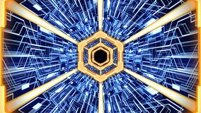 Futuristic abstract digital tunnel HUD with hexagon borders and digital circuit board backgroundorange-blue