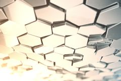 Futuristic abstract hexagonal background with depth of field effect. Structure of a large number of hexagons. Steel. Honeycomb wall texture, shiny hexagon Royalty Free Stock Photos