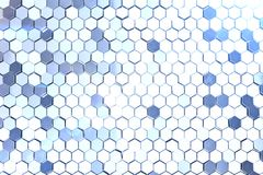 Futuristic abstract hexagonal background with depth of field effect. Structure of a large number of hexagons. Steel. Honeycomb wall texture, shiny hexagon Stock Photos