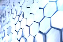 Futuristic abstract hexagonal background with depth of field effect. Structure of a large number of hexagons. Steel Royalty Free Stock Photos
