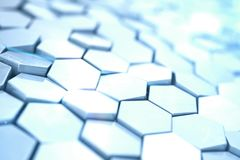 Futuristic abstract hexagonal background with depth of field effect. Structure of a large number of hexagons. Steel Stock Images