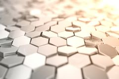 Futuristic abstract hexagonal background with depth of field effect. Structure of a large number of hexagons. Steel. Honeycomb wall texture, shiny hexagon Stock Photography
