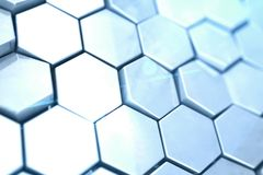 Futuristic abstract hexagonal background with depth of field effect. Structure of a large number of hexagons. Steel Stock Photo