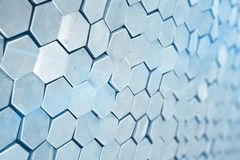 Futuristic abstract hexagonal background with depth of field effect. Structure of a large number of hexagons. Steel Stock Photography