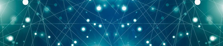 Futuristic abstract illuminate line and dot connection bright blue on black background, with conceptual miracle motion graphic for. Future,Banner panoramic vector illustration
