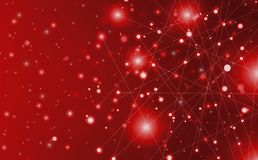 Futuristic abstract illuminate line and dot connection bright red on black background, with conceptual miracle motion graphic for. Future vector illustration