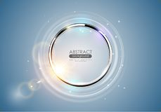 Futuristic abstract metal ring blue background. Chrome shine round frame with light circle and sun lens flare light effect. Vector. Glowing stainless steel logo vector illustration
