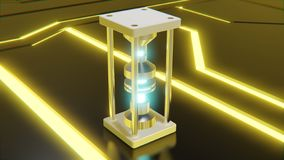 Futuristic abstract object with glowing blue core and neon yellow digital shapes on floor 3d rendering stock illustration