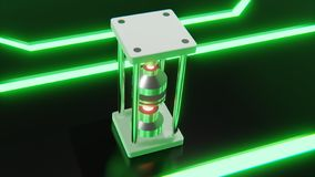 Futuristic abstract object with glowing red core and neon green digital shapes on floor 3d rendering royalty free illustration