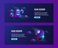 Futuristic abstract objects, banner template, server room, laboratorydata science concept. Isometric vector dark ultra violet neon Royalty Free Stock Photography