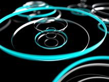 Futuristic abstract rings. Technology conception. Abstract digital background. Abstraction cyber and tech concept. 3D Render illustration Royalty Free Stock Image