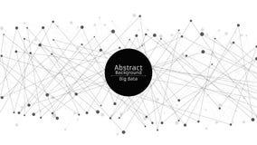 futuristic abstrakt bakgrund Anslutning av linjer och prickar i svart Vit bakgrund svart rengöringsduk High tech och science fict royaltyfri illustrationer