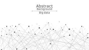 futuristic abstrakt bakgrund Anslutning av linjer och prickar i svart Vit bakgrund Svart sammankopplad rengöringsduk High tech oc stock illustrationer