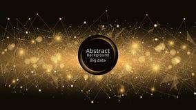 futuristic abstrakt bakgrund Anslutning av trianglar och prickar Moderna teknologier i design En glödande rengöringsduk av guling Fotografering för Bildbyråer