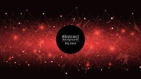 futuristic abstrakt bakgrund Anslutning av trianglar och prickar Moderna teknologier i design En glödande rengöringsduk av rött P Royaltyfria Bilder
