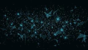 futuristic abstrakt bakgrund Anslutning av trianglar och prickar Moderna teknologier i design Glödande rengöringsduk av blått Ple Fotografering för Bildbyråer