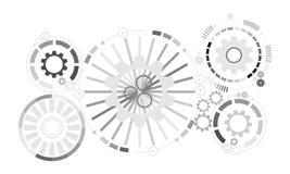 futuristic abstrakt bakgrund Hjul för vektorillustrationkugghjul, sexhörningar och strömkretsbräde, vektor illustrationer