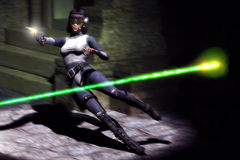 Futuristic action girl Stock Images