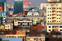 Futuristic aerial view panorama of developing Yangon city. Myanmar  Stock Photos