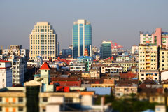 Futuristic aerial view panorama of developing Yangon city. Myanmar  Stock Image