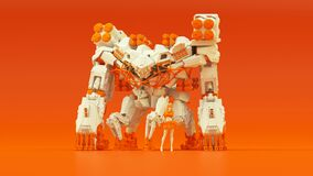 Free Futuristic AI Battle Droid Cyborg Mech White An Orange With Female Handler Royalty Free Stock Image - 184426136