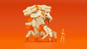 Free Futuristic AI Battle Droid Cyborg Mech White An Orange With Female Handler Royalty Free Stock Photography - 184426187