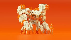 Free Futuristic AI Battle Droid Cyborg Mech White An Orange With Female Handler Royalty Free Stock Images - 184426229