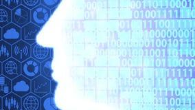 Futuristic AI/Human Head Computing and Thinking Big Data Icon set and Binary Code Background Camera Panning