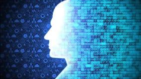 Futuristic ai/human head computing and thinking big data icon set and binary code background