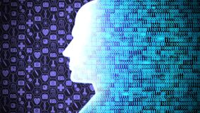 Futuristic AI/Human Head Computing and Thinking Medical Technology Icon Set HUD including Binary Code Background