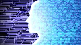 Futuristic AI/Human Head Silhouette with Digital Brain Computing and Learning Circuit Board and Binary Code Background