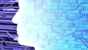 Futuristic AI/Human Head Silhouette with Digital Brain Computing and Learning Circuit Board and Binary Code Camera Panning
