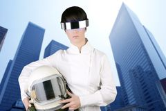 Futuristic aircraft helmet astronaut woman Royalty Free Stock Photos