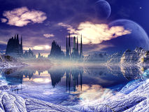 Futuristic Alien City in Winter Landscape Royalty Free Stock Photography