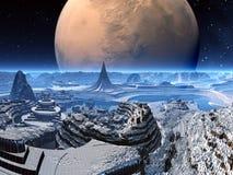 Futuristic Alien City in Winter Snow royalty free illustration