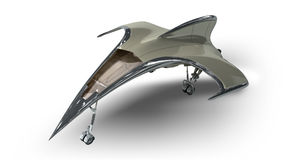 Futuristic alien 3D military spaceship Stock Photo