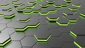 Futuristic alien hexagonal floor with green light. 3d illustration and rendering Royalty Free Stock Photos