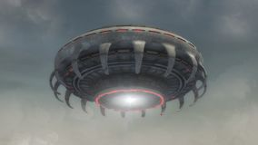 Futuristic alien Spaceship and sky. 3D rendering. Futuristic alien Spaceship stock photo
