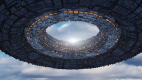 Futuristic alien Spaceship and sky. 3D rendering. Futuristic alien Spaceship Stock Photo