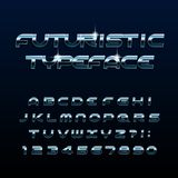 Futuristic alphabet font. Beveled metal effect shiny letters and numbers. royalty free illustration